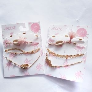 Ardene New Gold and Pink Identical Anklet Sets